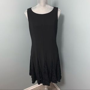 Betsy & Adam black A-Line mini dress with lace